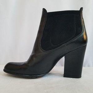 STUART WEITZMAN Black Stacked Heeled Ankle Boots